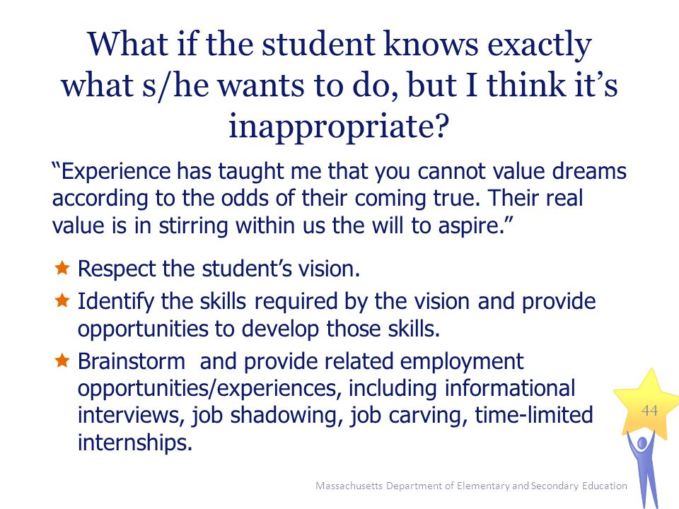 What if the student knows exactly what s/he wants to do, but I think it's inappropriate