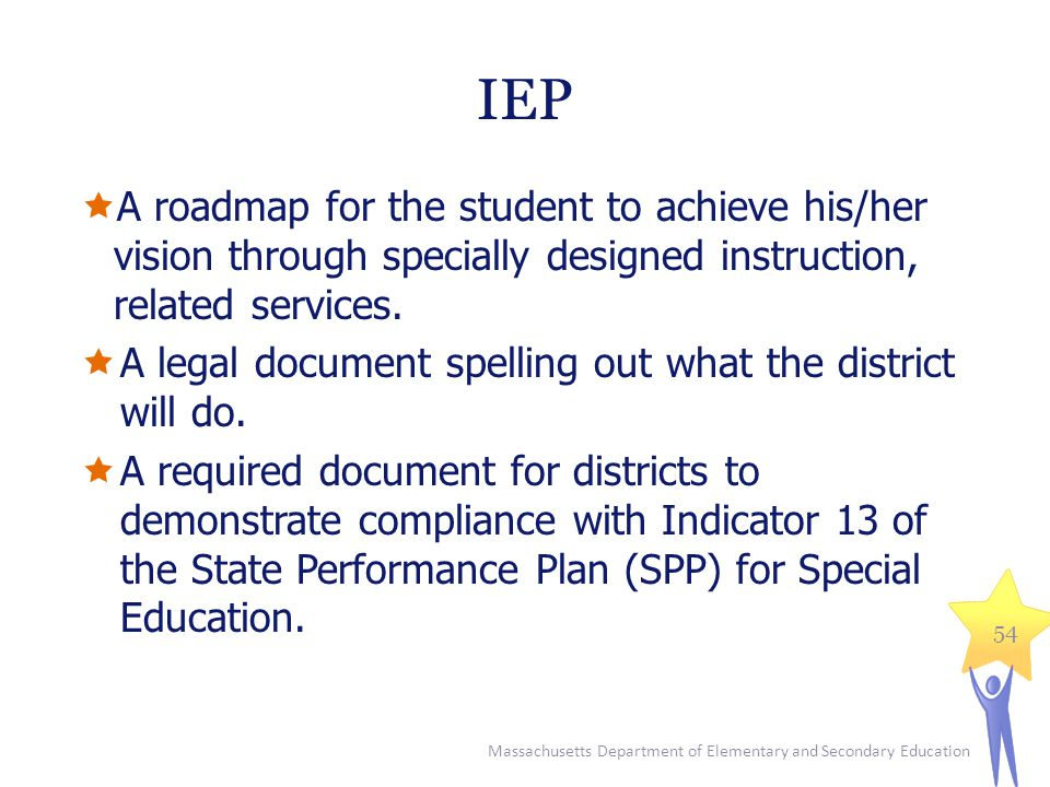 IEP A roadmap for the student to achieve his/her vision through specially designed instruction, related services.