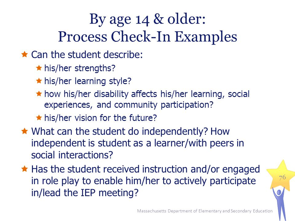 By age 14 & older: Process Check-In Examples