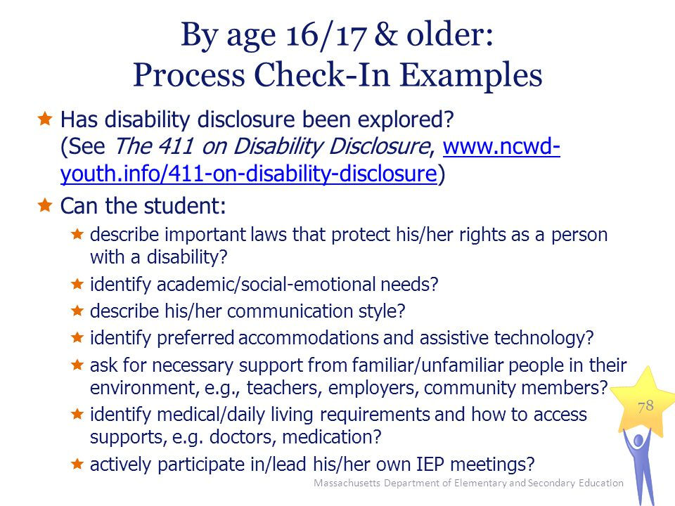 By age 16/17 & older: Process Check-In Examples