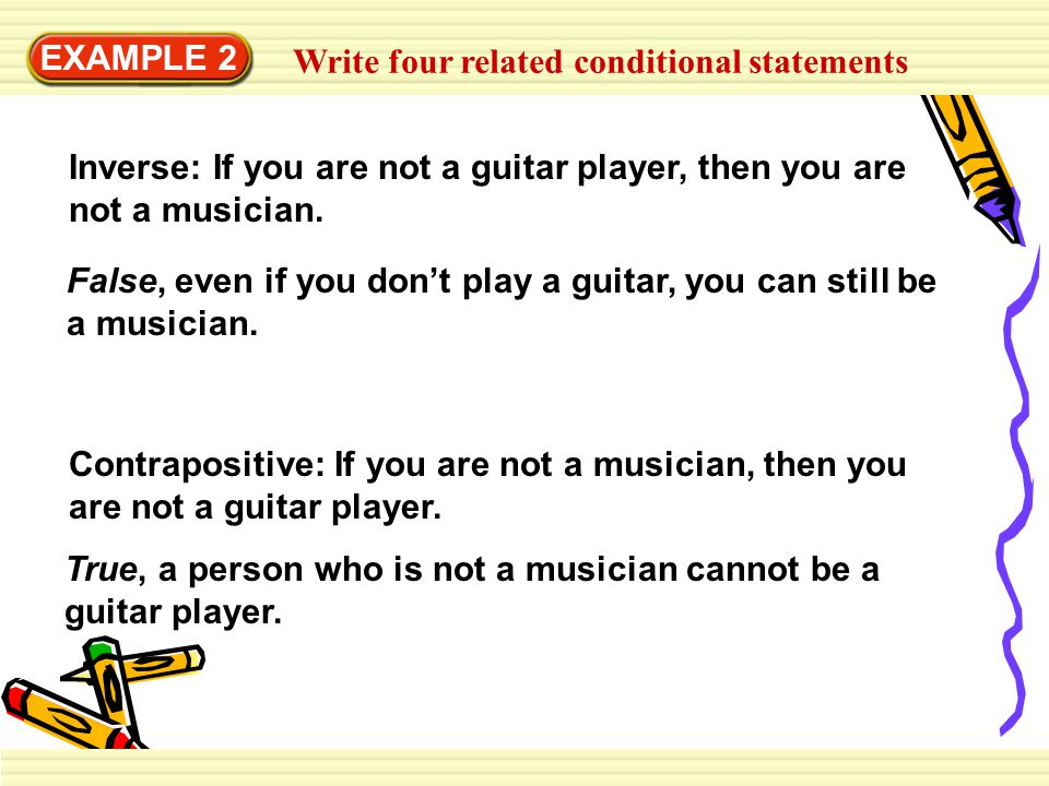 EXAMPLE 2 Write four related conditional statements. Inverse: If you are not a guitar player, then you are not a musician.
