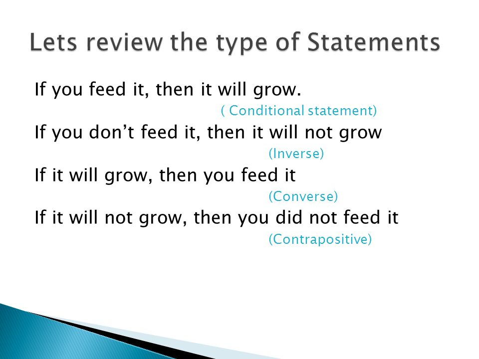 Lets review the type of Statements