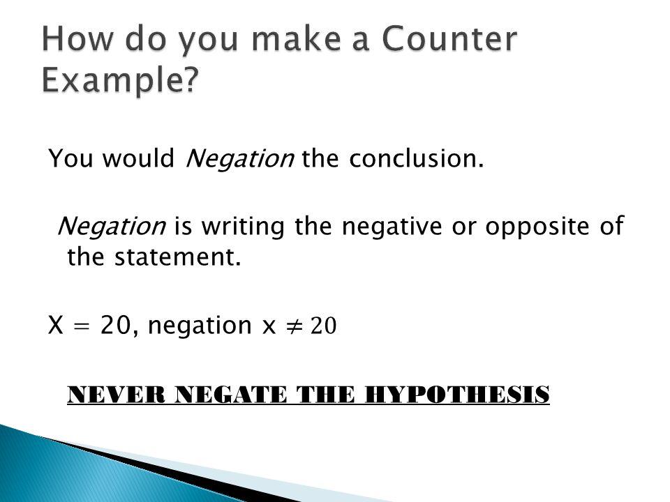 How do you make a Counter Example