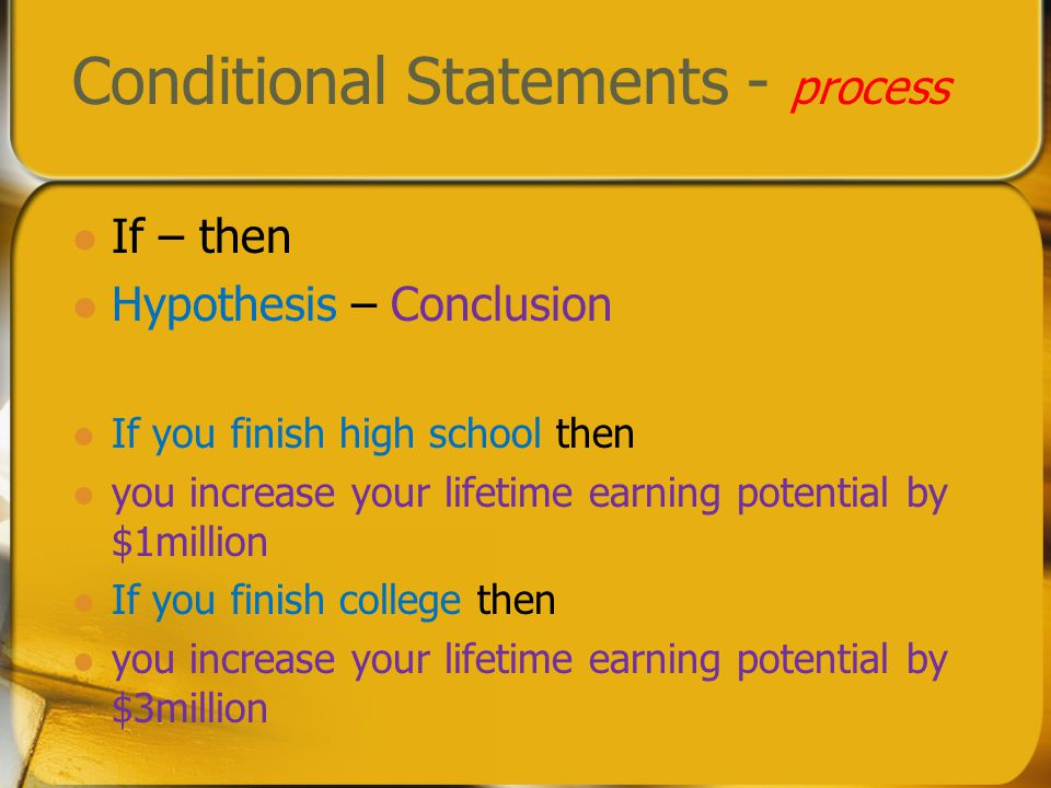 Conditional Statements - process