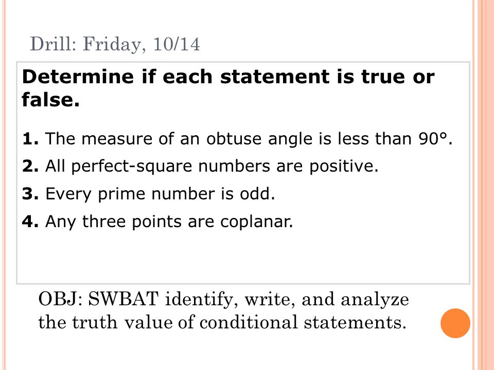 Determine if each statement is true or false.