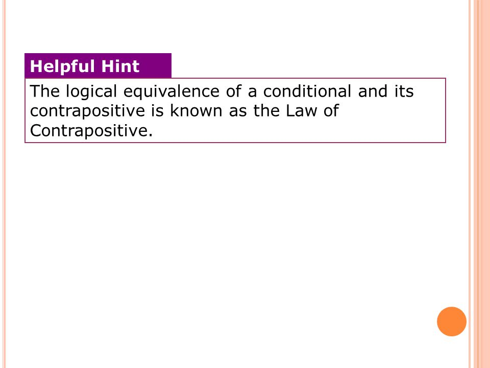 The logical equivalence of a conditional and its contrapositive is known as the Law of Contrapositive.