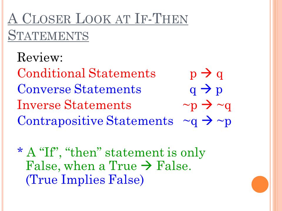 A Closer Look at If-Then Statements
