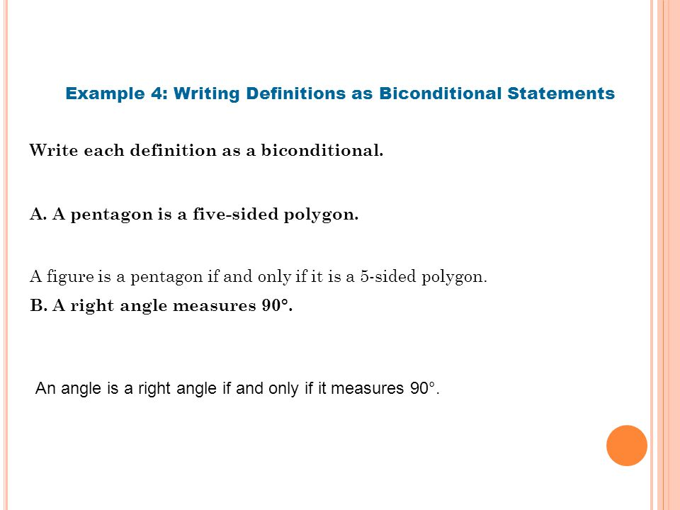 Example 4: Writing Definitions as Biconditional Statements