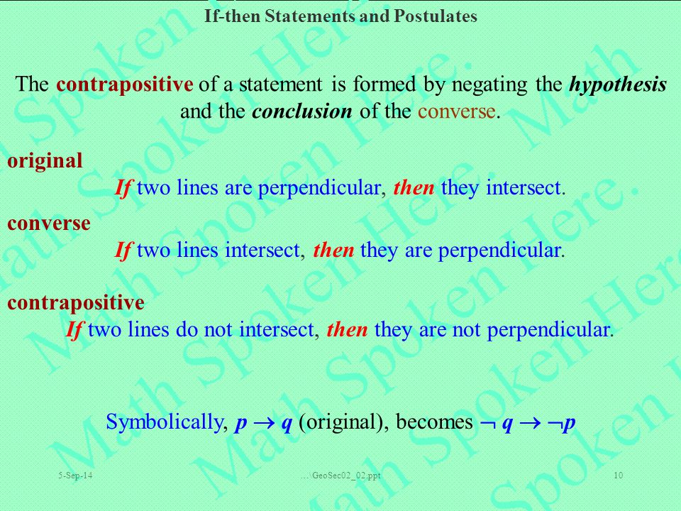 If two lines are perpendicular, then they intersect.