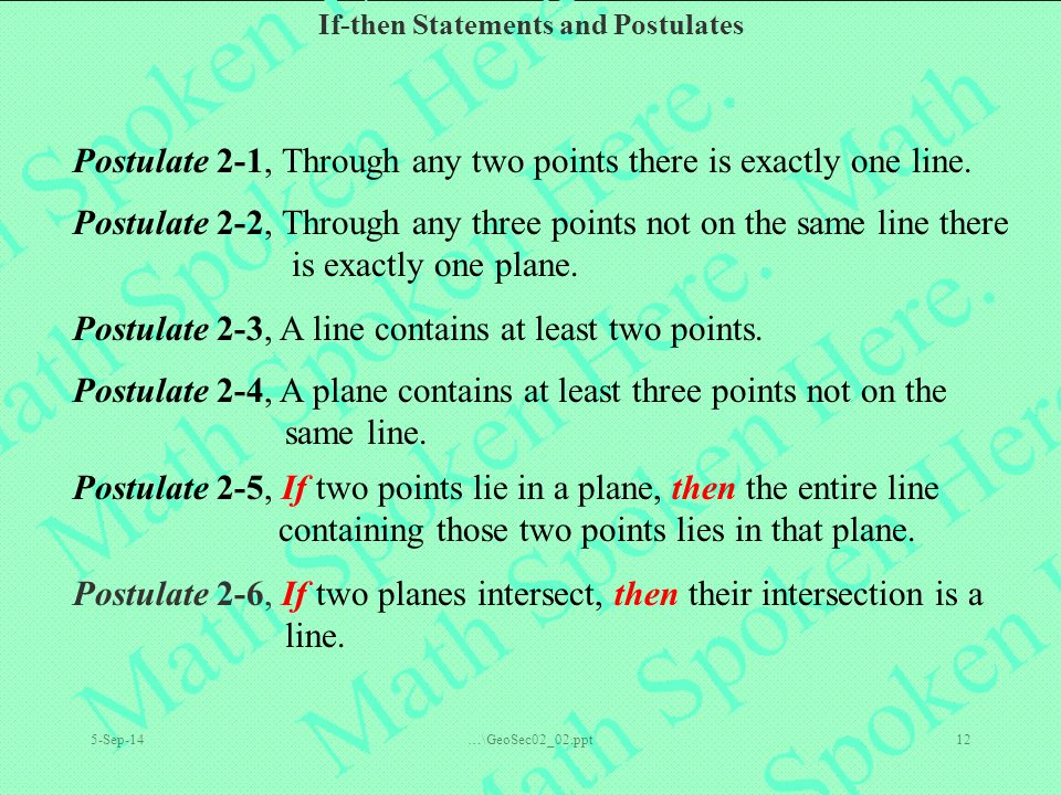 Postulate 2-1, Through any two points there is exactly one line.
