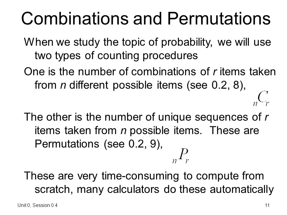 Combinations and Permutations
