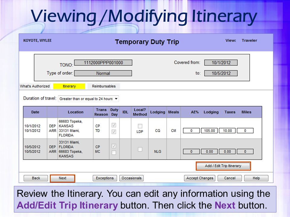 Viewing /Modifying Itinerary