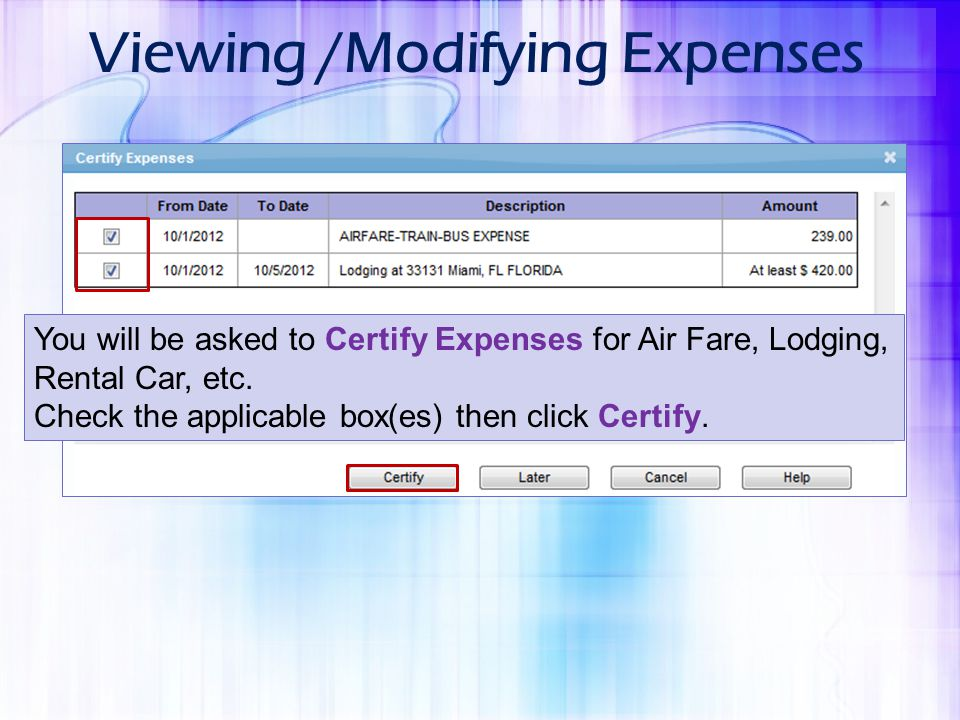 Viewing /Modifying Expenses