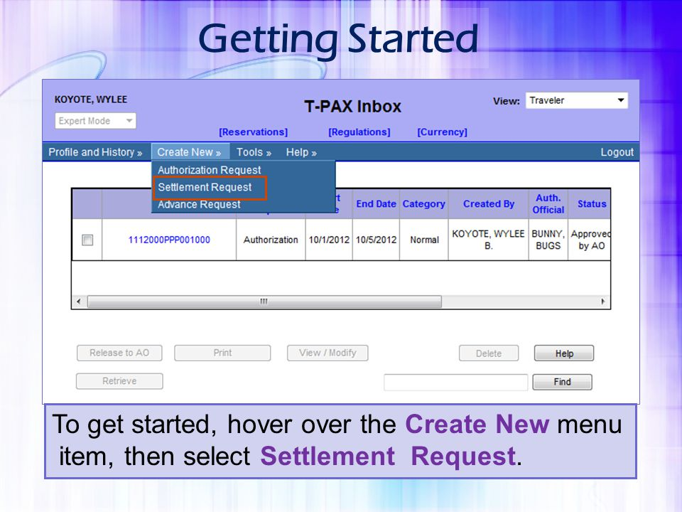 Getting Started To get started, hover over the Create New menu
