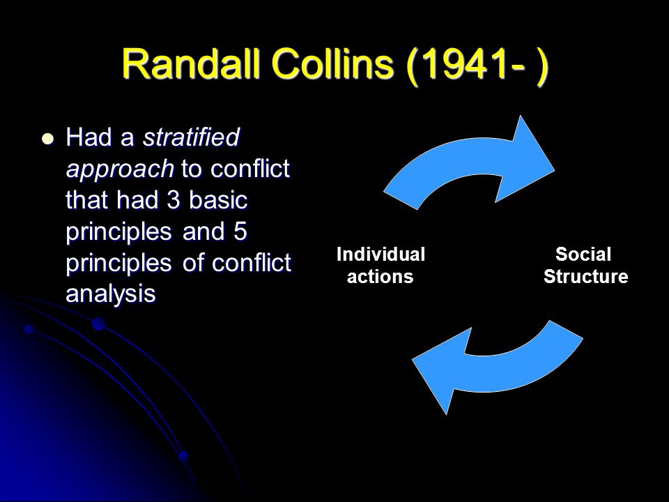 Randall Collins (1941- ) Had a stratified approach to conflict that had 3 basic principles and 5 principles of conflict analysis.