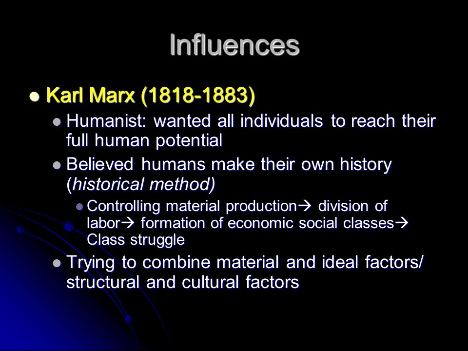 Influences Karl Marx (1818-1883)