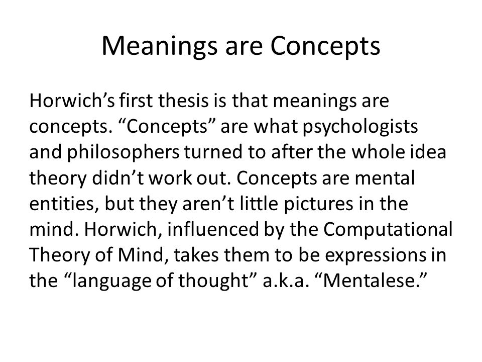 Meanings are Concepts