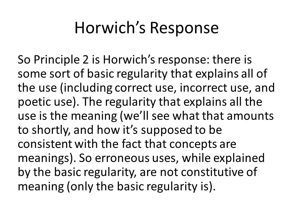 Horwich's Response