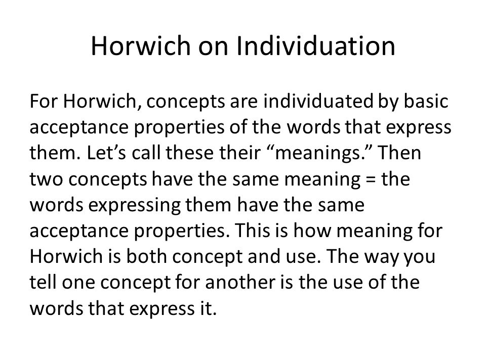 Horwich on Individuation