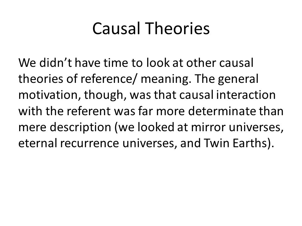 Causal Theories