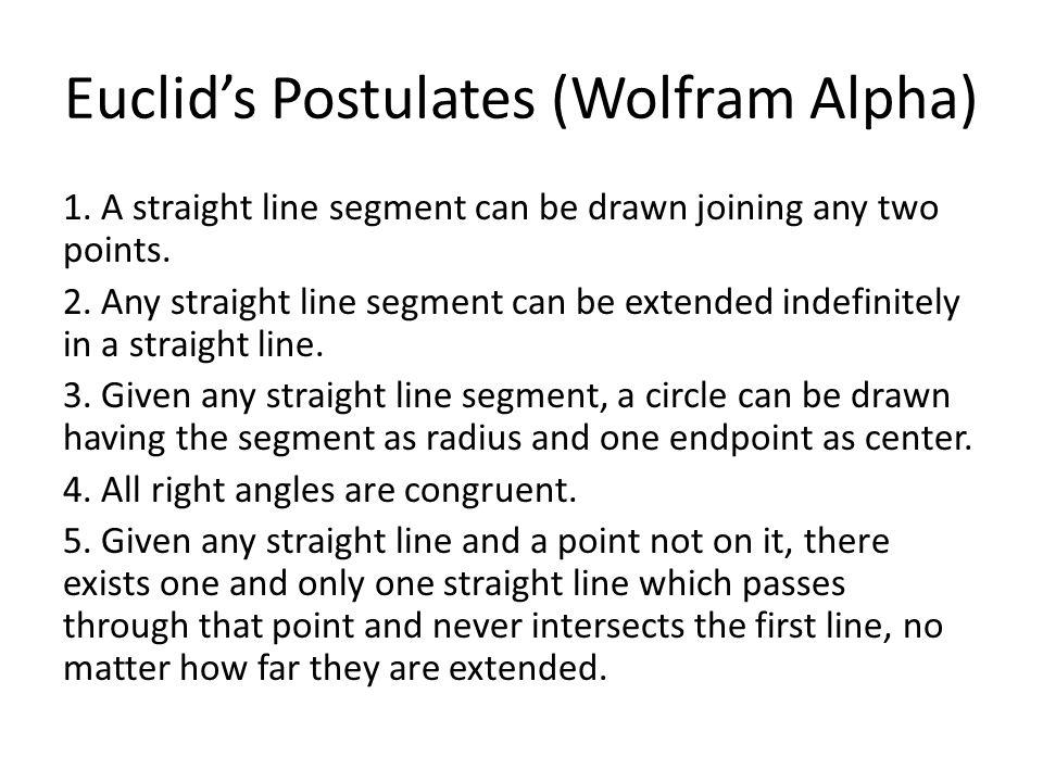 Euclid's Postulates (Wolfram Alpha)