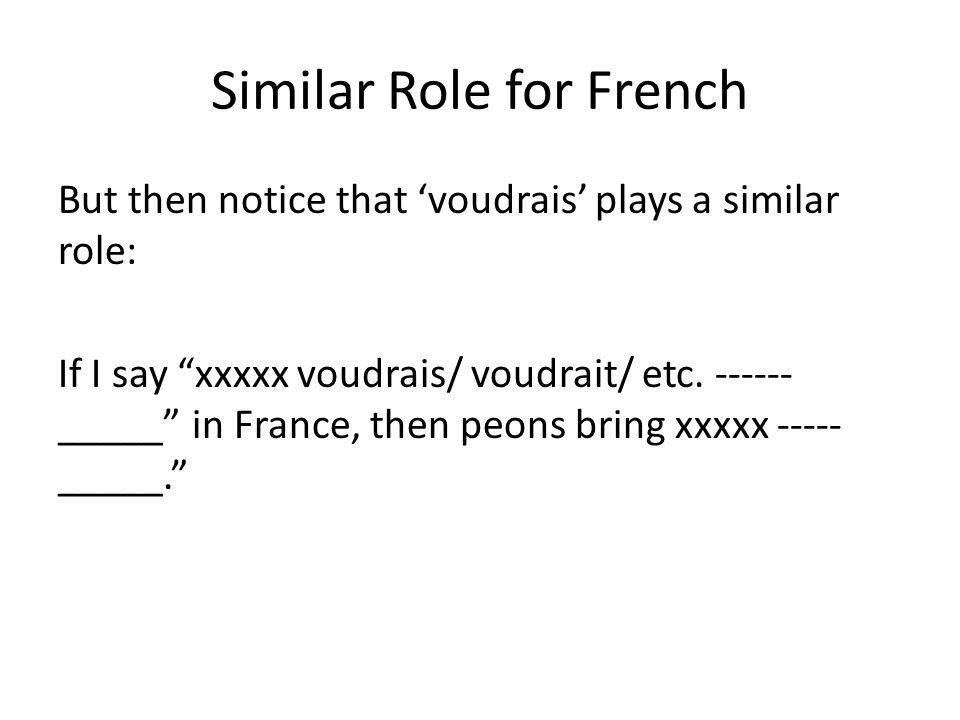 Similar Role for French
