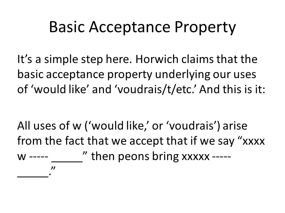 Basic Acceptance Property