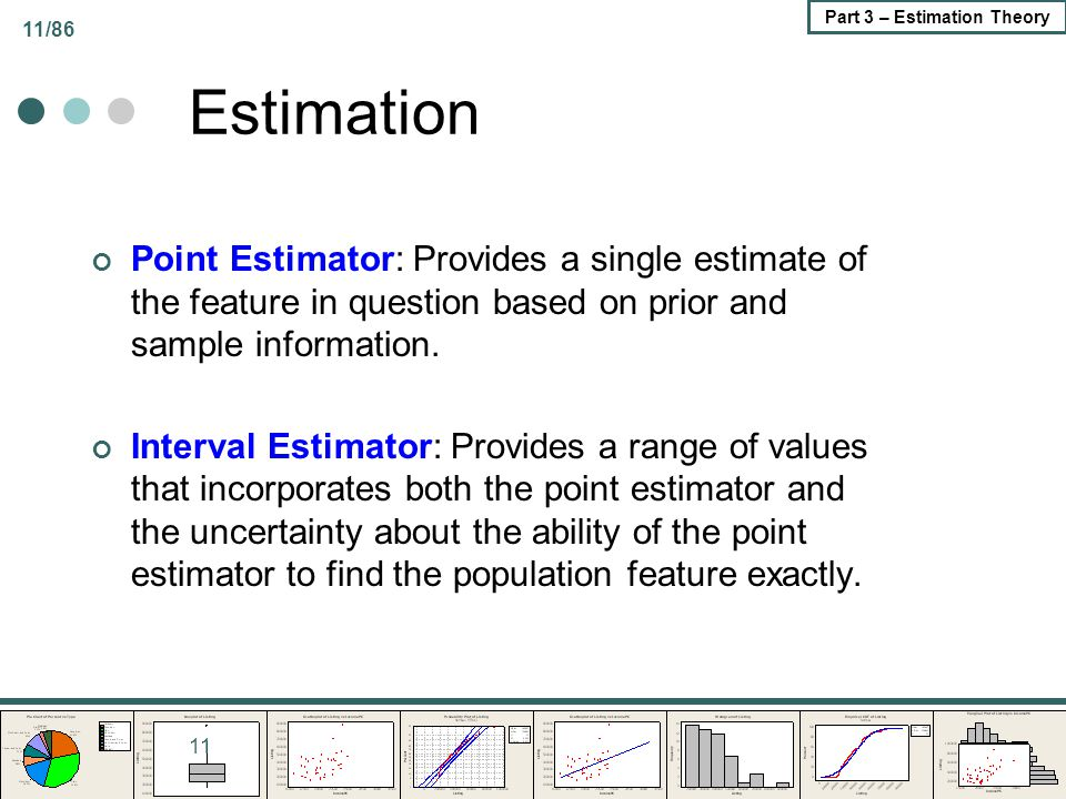 Estimation Point Estimator: Provides a single estimate of the feature in question based on prior and sample information.