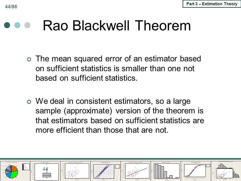 Rao Blackwell Theorem The mean squared error of an estimator based on sufficient statistics is smaller than one not based on sufficient statistics.