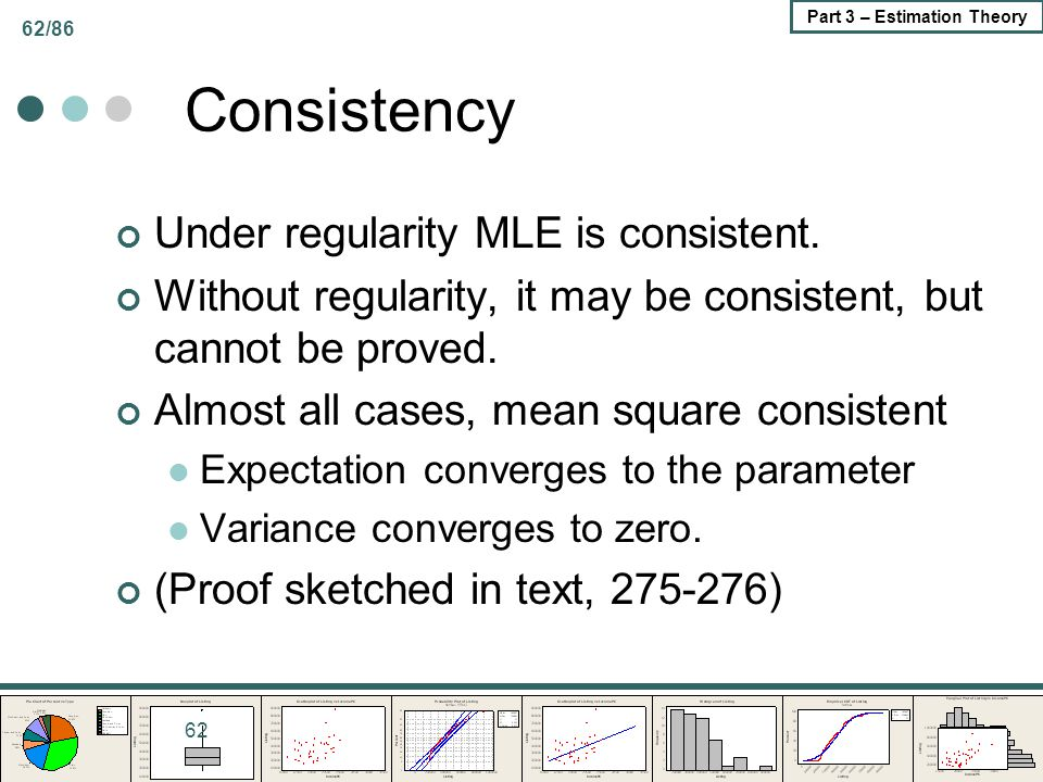 Consistency Under regularity MLE is consistent.