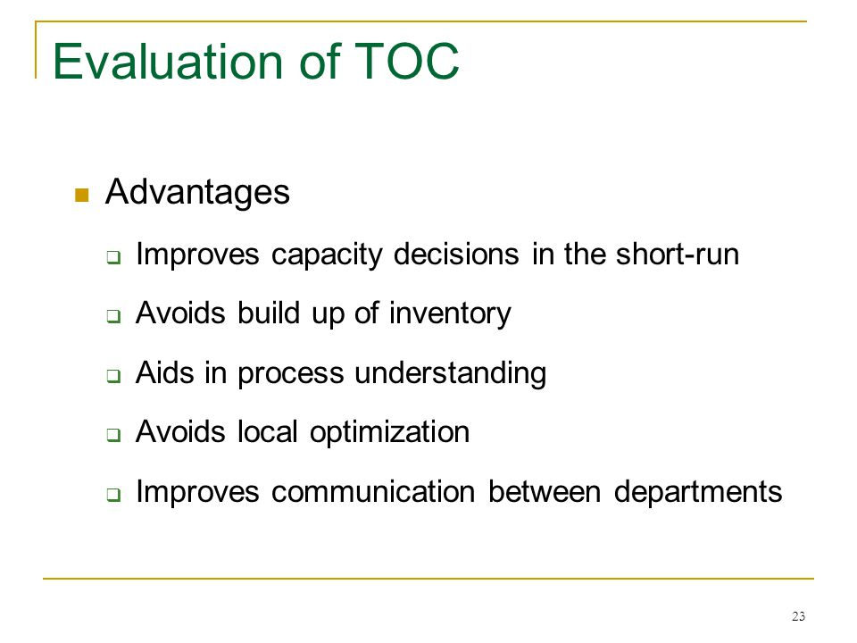 Evaluation of TOC Advantages