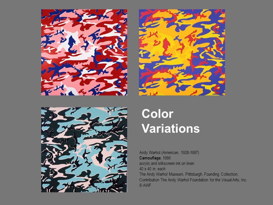 Color Variations Andy Warhol (American, 1928-1987) Camouflage, 1986