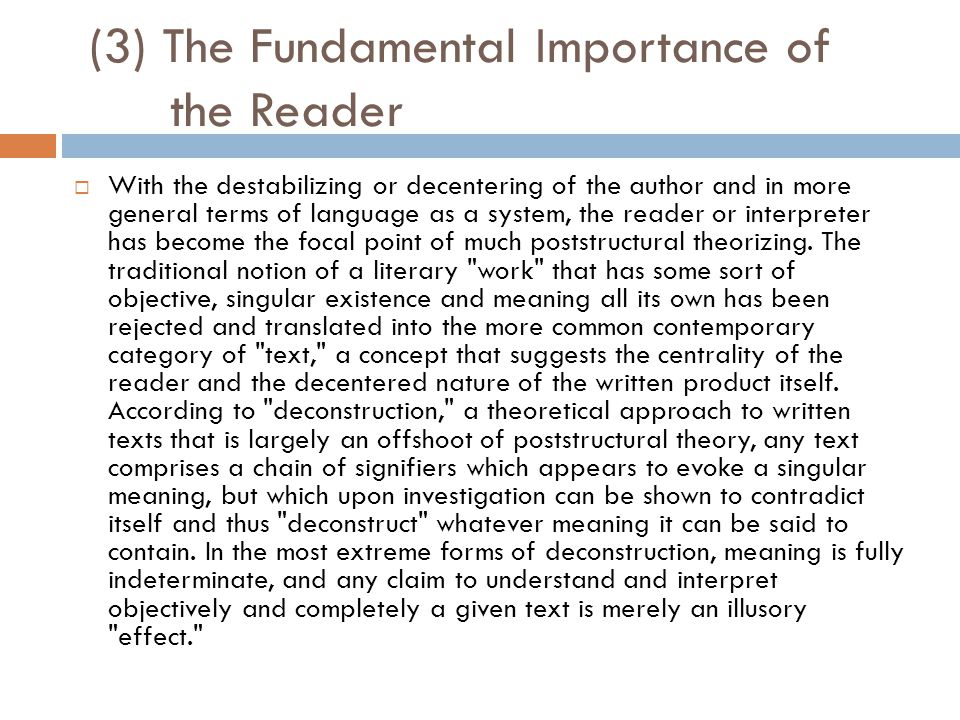(3) The Fundamental Importance of the Reader