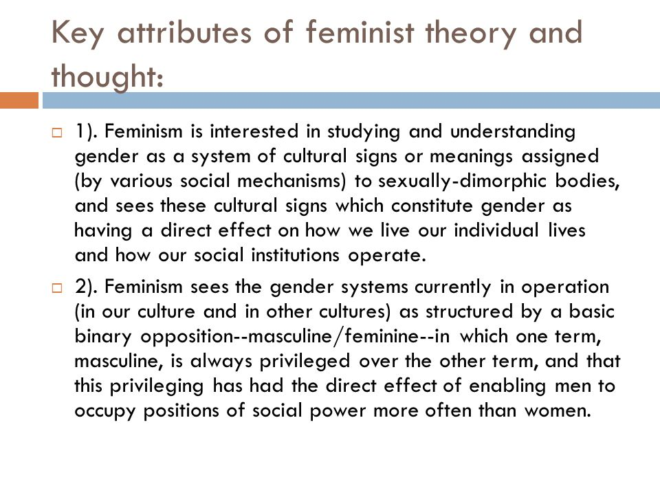 Key attributes of feminist theory and thought: