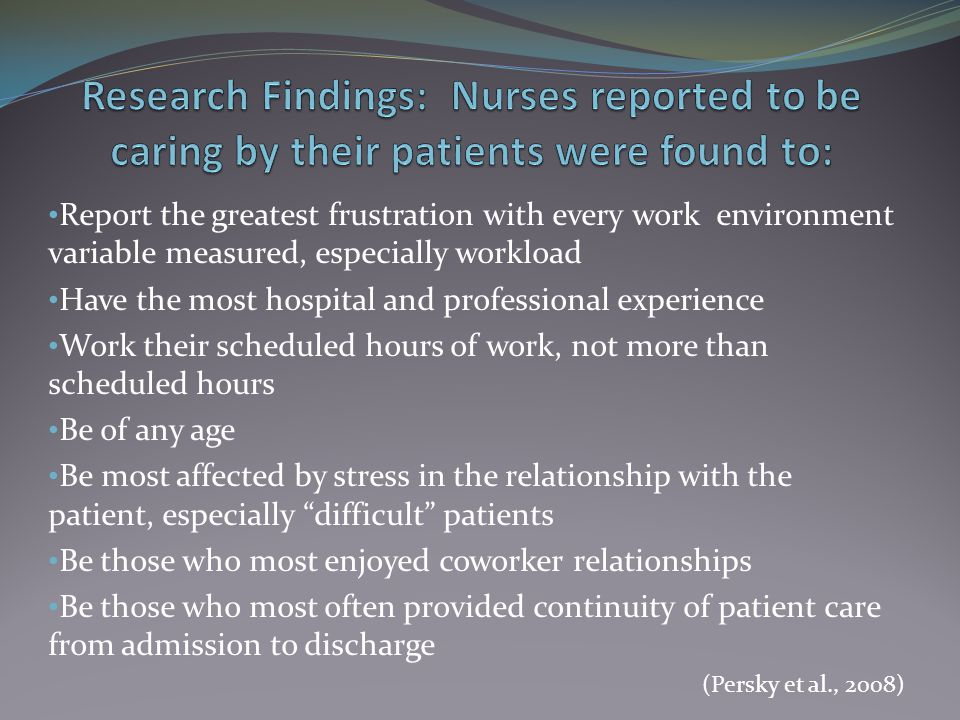 Research Findings: Nurses reported to be caring by their patients were found to: