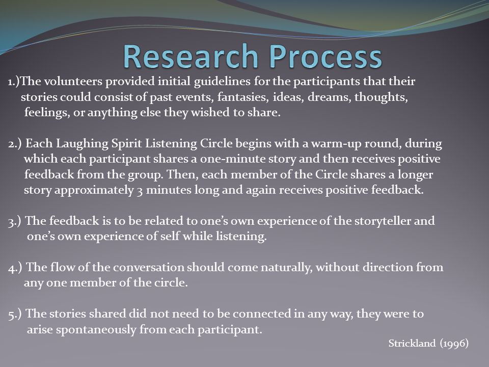 Research Process 1.)The volunteers provided initial guidelines for the participants that their.