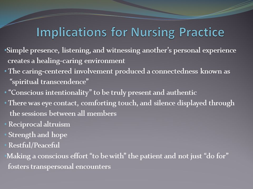 Implications for Nursing Practice