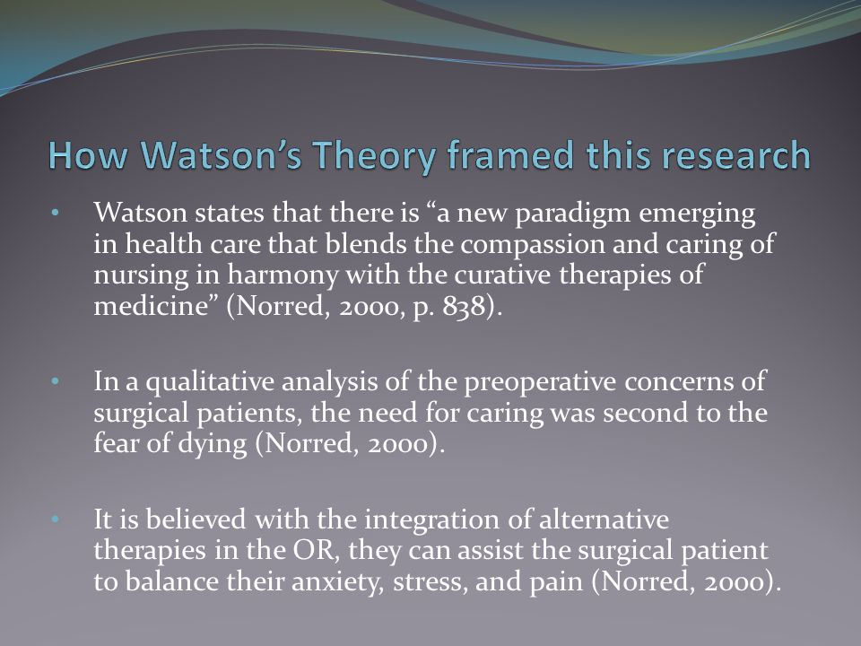 How Watson's Theory framed this research