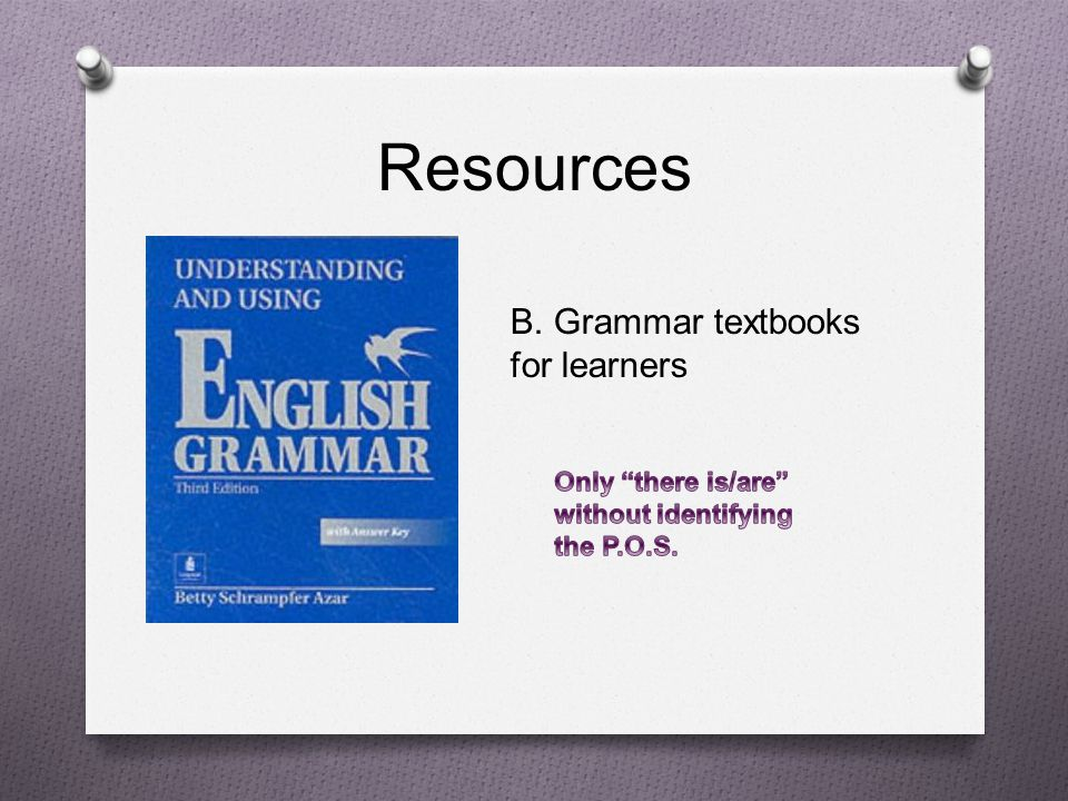Resources B. Grammar textbooks for learners