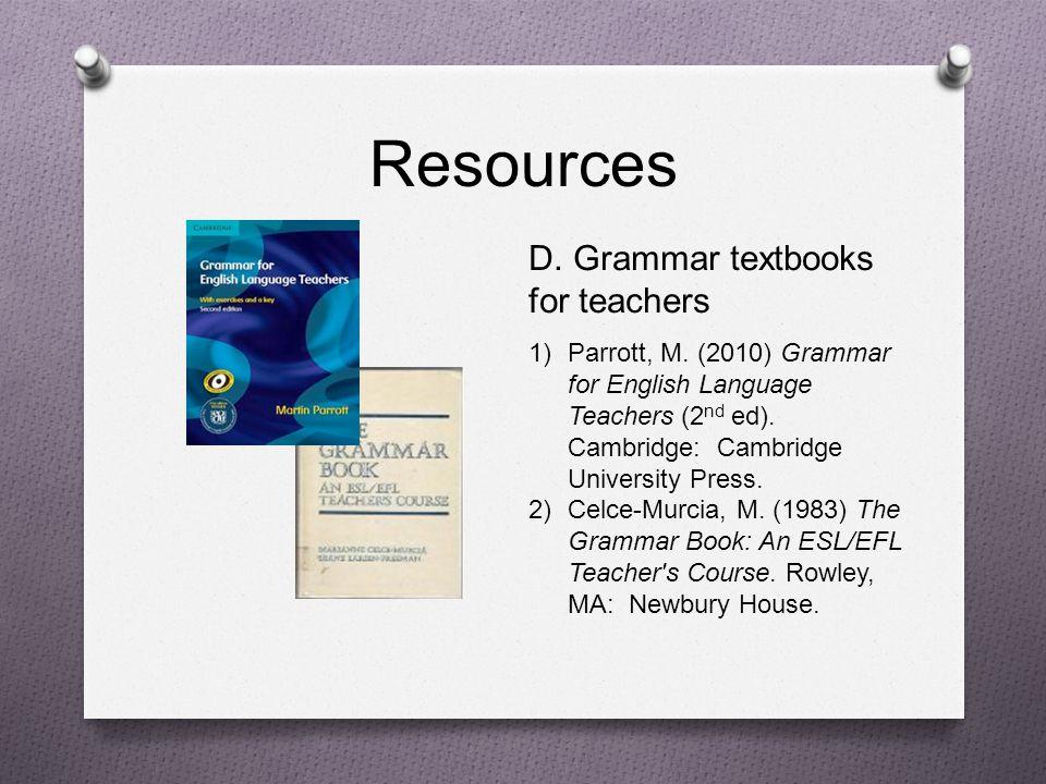 Resources D. Grammar textbooks for teachers
