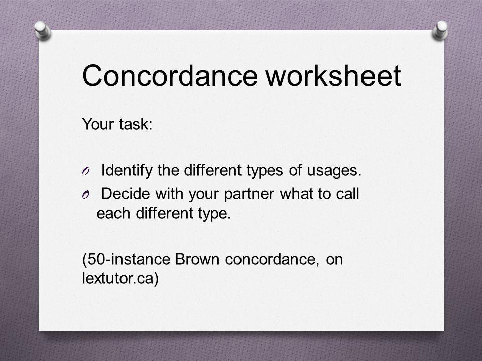Concordance worksheet