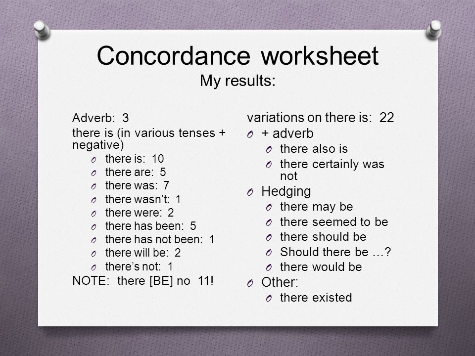 Concordance worksheet My results: