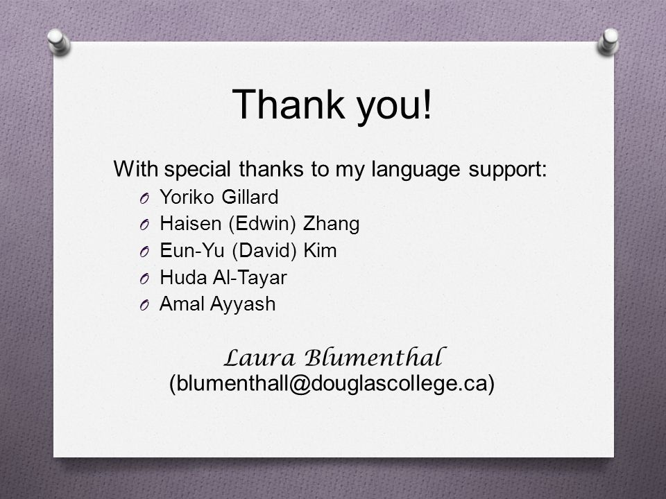 Laura Blumenthal (blumenthall@douglascollege.ca)