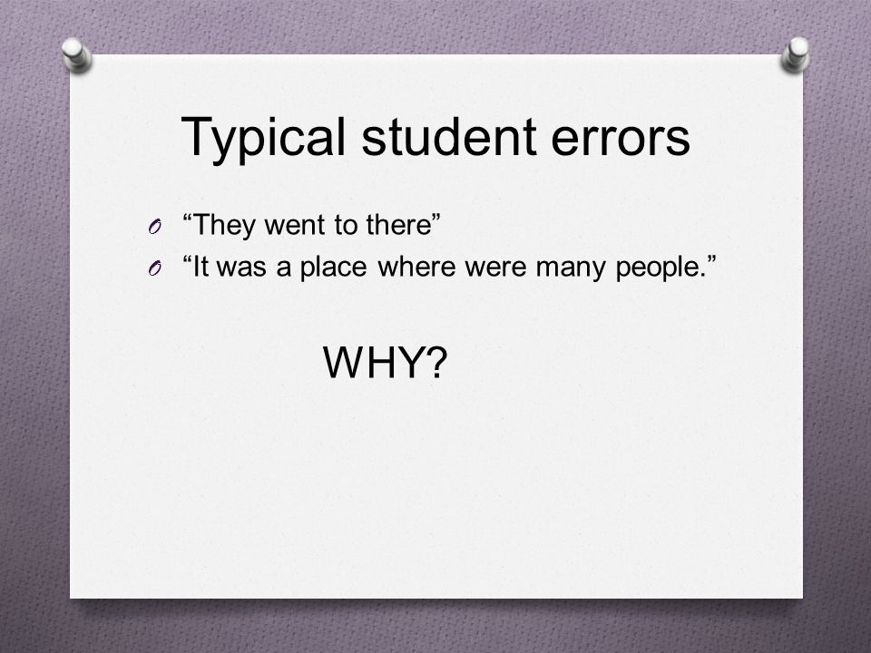 Typical student errors