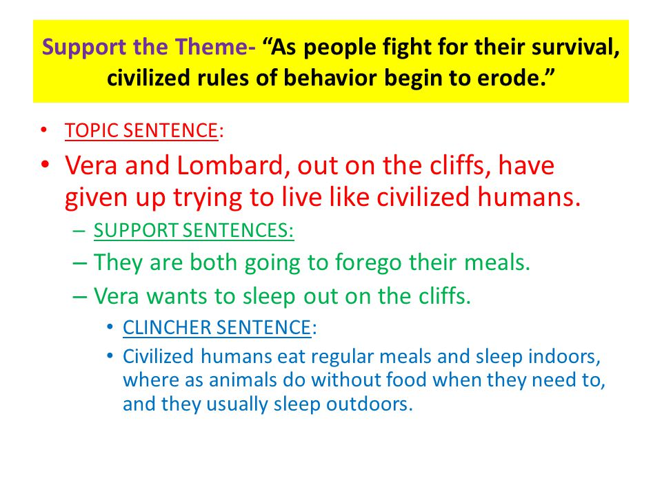Support the Theme- As people fight for their survival, civilized rules of behavior begin to erode.