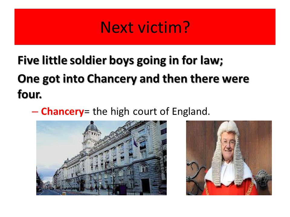 Next victim Five little soldier boys going in for law;