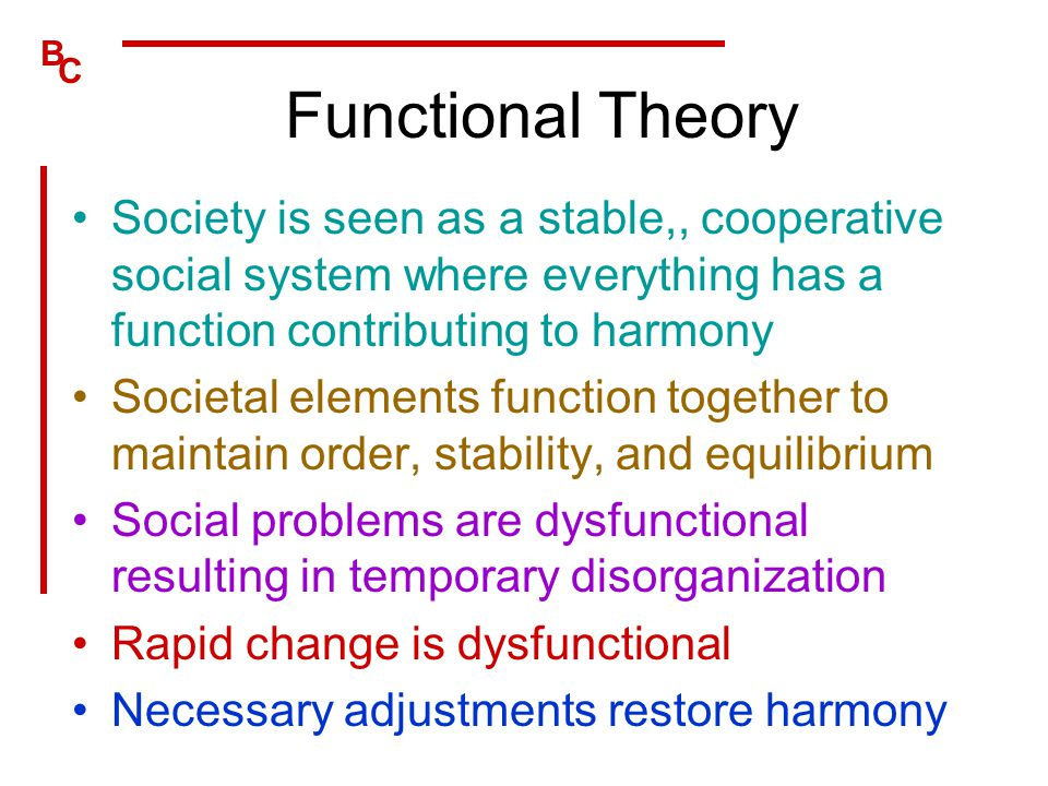 Functional Theory Society is seen as a stable,, cooperative social system where everything has a function contributing to harmony.
