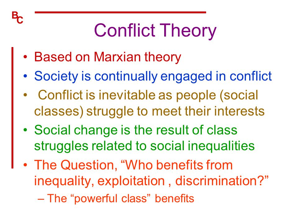 Conflict Theory Based on Marxian theory