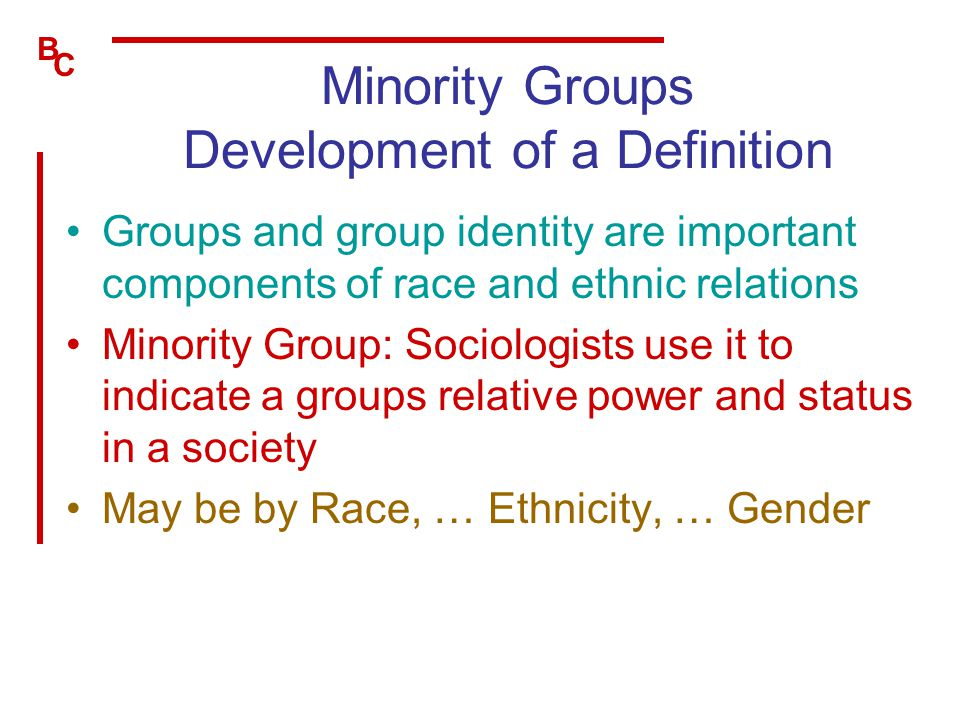 Minority Groups Development of a Definition