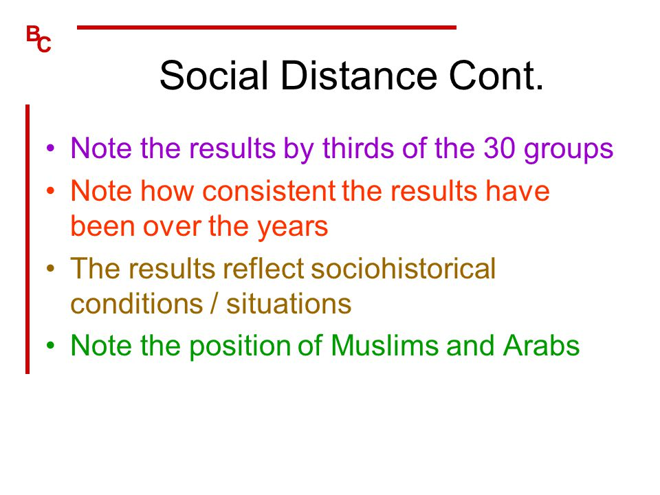 Social Distance Cont. Note the results by thirds of the 30 groups